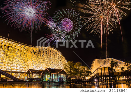 Fireworks comparative light synthesis of Mie Prefecture Nagashima Sparland 25118644