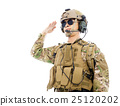 Soldier in military uniform  saluting  25120202