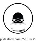 Icon of Swimming man head with goggles and cap 25137635
