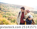 Young couple on a walk in sunny autumn forest 25141571
