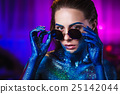 beautiful woman painted with cosmic and spangled 25142044