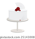 White cake with abstract fan decorations 25143008