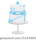 White Cake with Blue Abstract and Bow Decorations 25143009