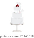 Tall White Cake with Abstract Fans 25143010