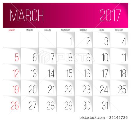 March 2017 calendar template - Stock Illustration [25143726] - PIXTA