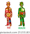 Fat and Health. Human nutrition icons 25155183