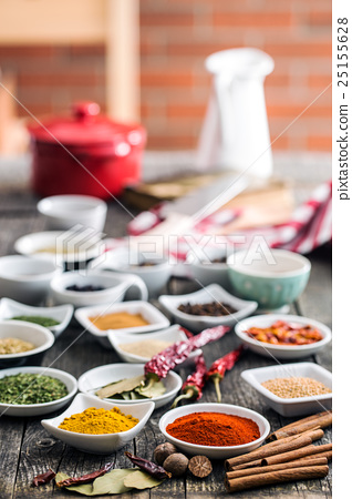 Various dried herbs and spices. 25155628
