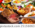 Table of food with grilled beef, sausages, pasta,  25156063
