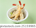 Fried tempura shrimp with noodle in white bowl 25159965