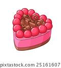 Heart shape berry cake. Vector illustration. 25161607