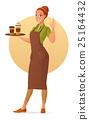 Barista with coffee. Cartoon vector illustration. 25164432