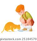 Little boy feeding cat. Vector illustration. 25164570