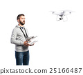 Man with flying drone. Studio shot on white 25166487
