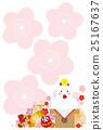 新年卡片明信片模板日本式鏡子蛋糕雞 25167637