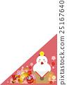 新年卡片明信片模板日本式鏡子蛋糕雞 25167640