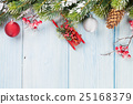 Christmas wooden background with fir tree 25168379
