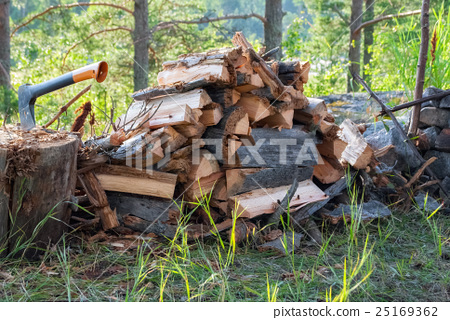 Firewood and an axe. 25169362