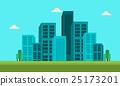 Town skyline landscape of silhouette 25173201