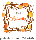 Hello Autumn Background. Bright  branch and leaves 25174468