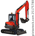 Red small excavator 25175780