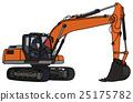 Gray and orange excavator 25175782