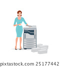 Business woman using copy machine or printing  25177442