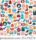 background with colorful shopping icons 25179275