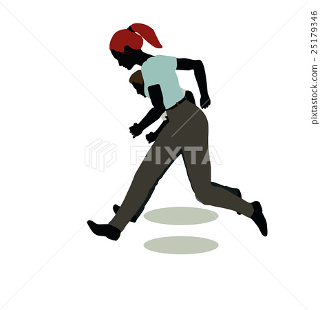 man and woman silhouette in Standing Running 25179346