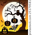 Halloween tree silhouette theme 6 25179581