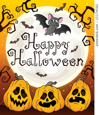 Happy Halloween sign with pumpkins 3 - Stock Illustration ...
