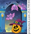 Pumpkin in witch hat theme image 2 25179590