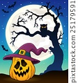 Pumpkin in witch hat theme image 3 25179591
