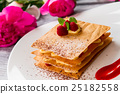 Pastry with raspberries on plate. 25182558