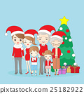 christmas cartoon family smile happily 25182922