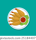 Top view, Fried prawn on white plate, vector 25184407