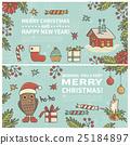Set of two cartoon Christmas cards 25184897