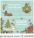 Set of two cartoon Christmas cards 25184898