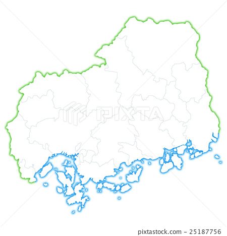 hiroshima prefecture map, map, hiroshima prefecture - Stock ...