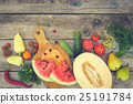 Fruits, vegetables on wooden background. 25191784