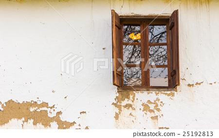 wooden window  on wall 25192813