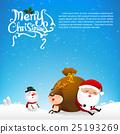 Merry christmas text and santa claus cartoon  25193269