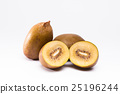 Whole and cut golden kiwi fruit on white 25196244