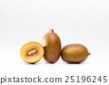Whole and cut golden kiwi fruit on white 25196245