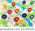 City map and pins with icons. Navigatio concept 25196391
