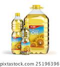 Sunflower oil in plastic bottles isolated on white 25196396