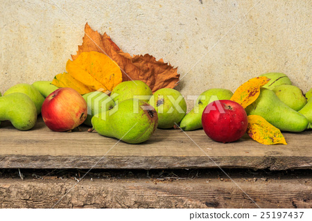 autumnal still life with fruit and leaves 25197437