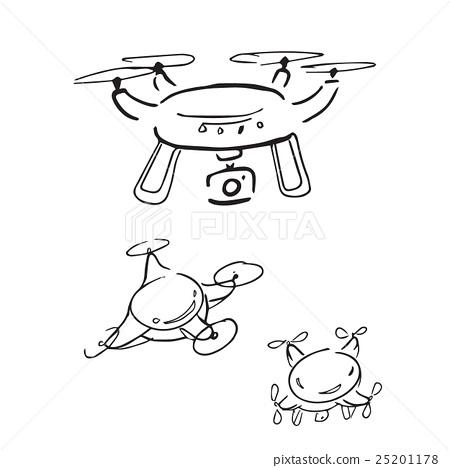 Drone radio control aircarf cartoon drawing 25201178