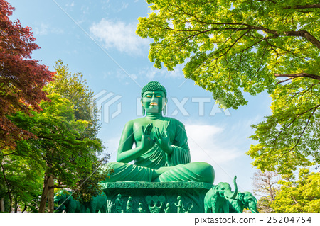 Stock Photo: The great Buddha of Nagoya with tranquil place