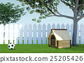 Wooden dog kennel under tree shade on green grass  25205426