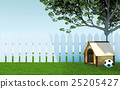 Wooden dog kennel under tree shade on green grass  25205427